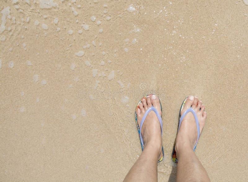 Vue supérieure des pieds asiatiques de femme utilisant une pantoufle bleue sur la plage sablonneuse d'océan photos libres de droits