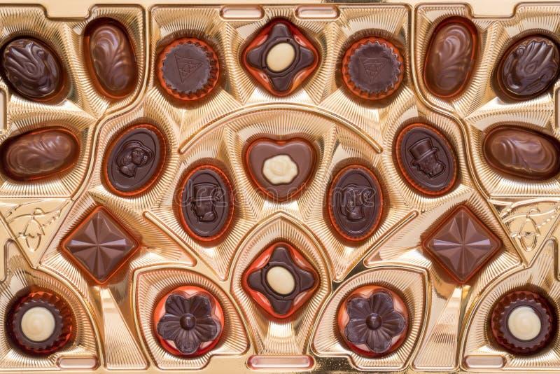 Vue supérieure des pralines de chocolat photo libre de droits