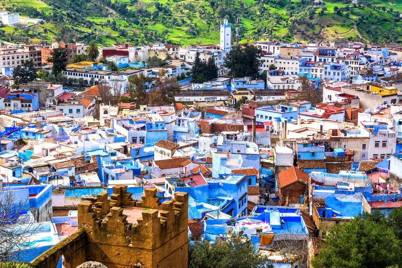 Vue supérieure des rues dans la ville bleue de Chefchaouen Locatio photo libre de droits