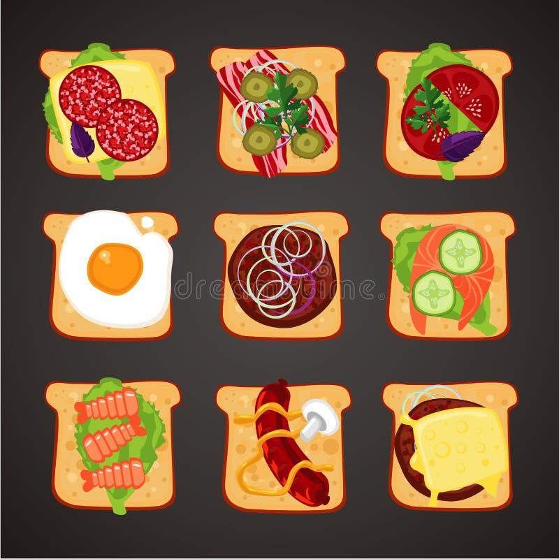 Vue supérieure des sandwichs avec l'écrimage de differents Collection d'isolement d'icône d'aliments de préparation rapide Style  illustration libre de droits