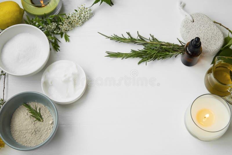 Vue supérieure des soins de la peau organiques photo stock