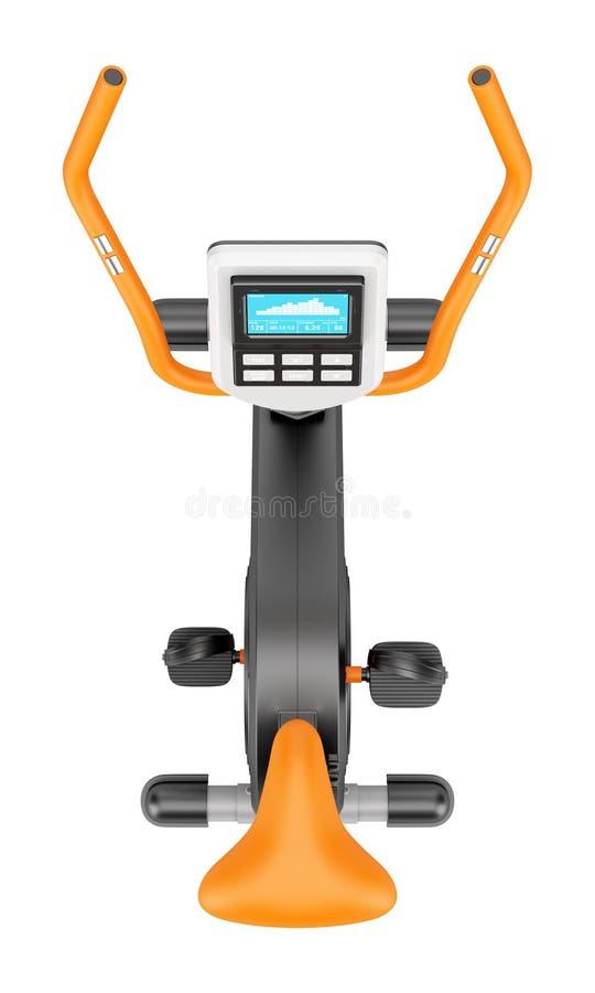 Vue supérieure du vélo d'exercice stationnaire d'isolement sur le blanc illustration libre de droits