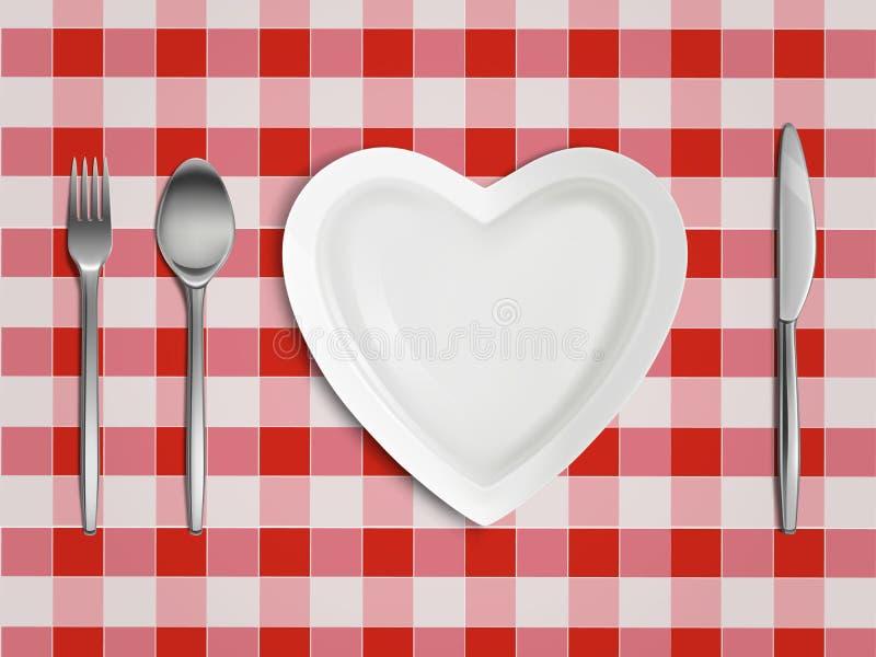 Vue supérieure en forme de coeur de plat, de fourchette, de cuillère et de couteau illustration stock