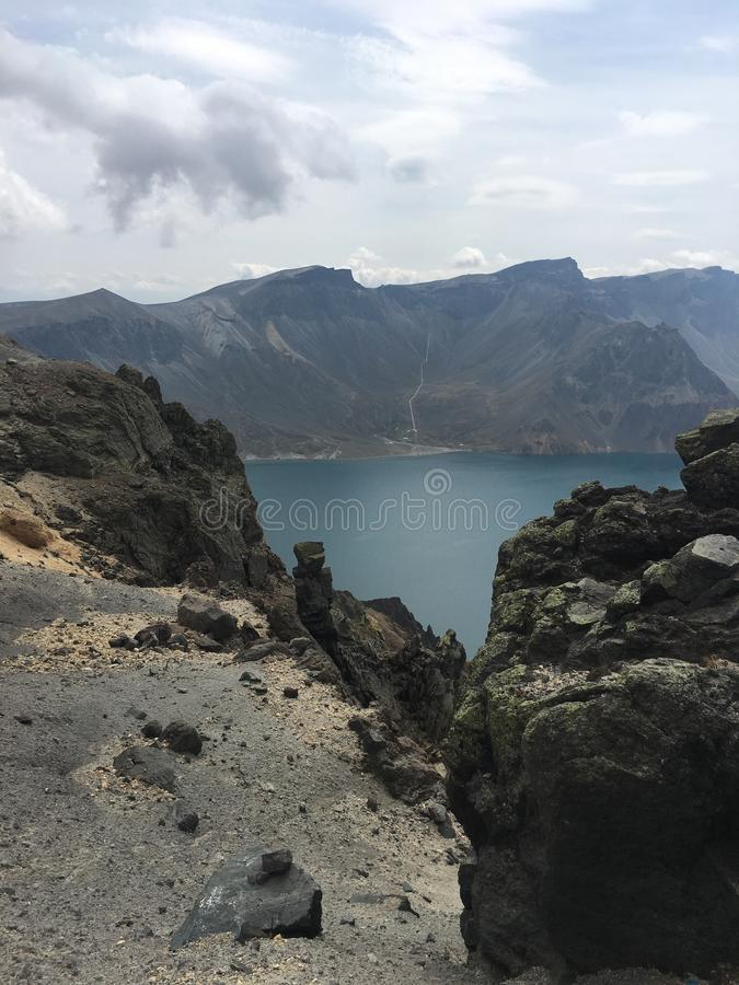 Vue supérieure et paysage de bonne montagne sur la montagne de Changbai image stock