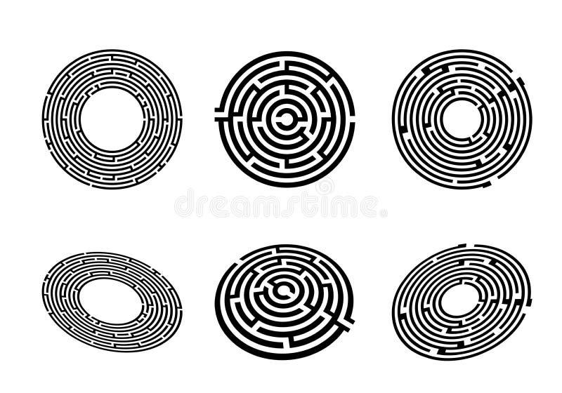 Vue supérieure et perspective de labyrinthe illustration stock
