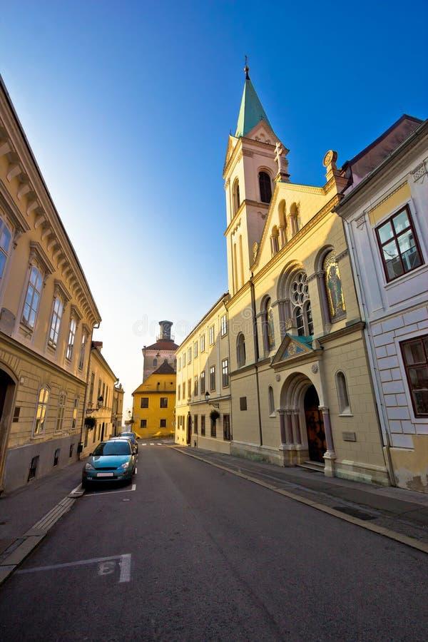 Vue supérieure historique de rue de ville de Zagreb photo libre de droits