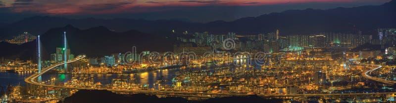 Vue supérieure panoramique de port de Hong Kong photographie stock libre de droits