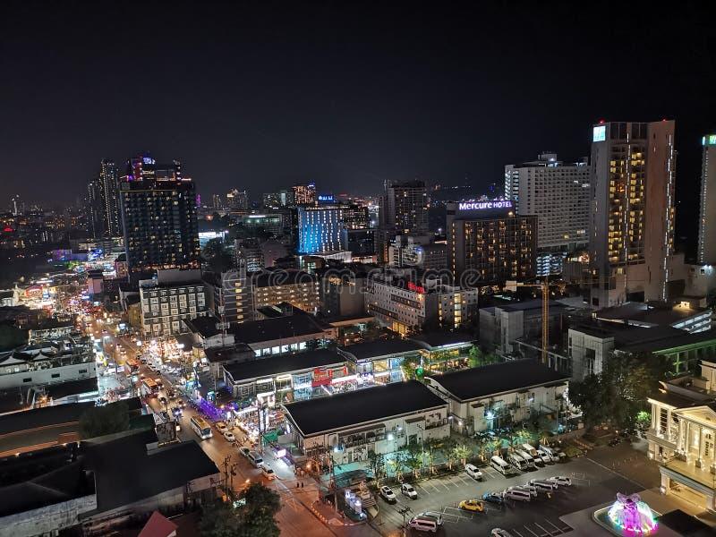Vue supérieure Pattaya Thaïlande de nuit photographie stock libre de droits