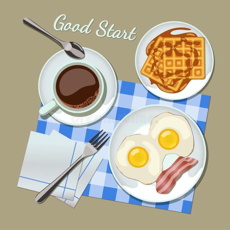 Vue supérieure réglée de petit déjeuner illustration stock