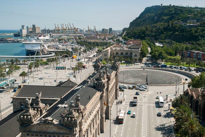 Vue supérieure sur le secteur de port de Barcelone photo stock