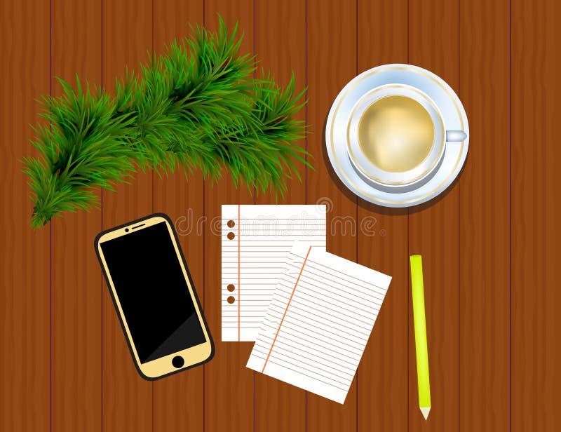 Vue supérieure sur le smartphone, le crayon, les brindilles de sapin et la tasse de café dessus illustration stock