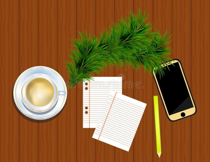 Vue supérieure sur le smartphone, le crayon, les brindilles de sapin et la tasse de café dessus illustration libre de droits