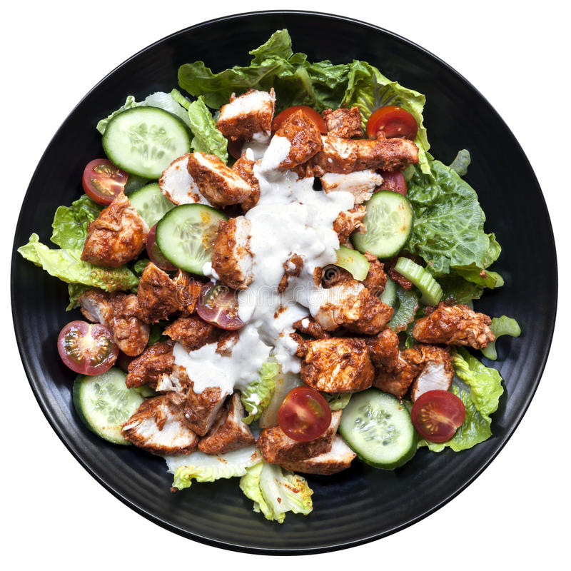 Vue supérieure tandoori de salade de poulet d'isolement images stock