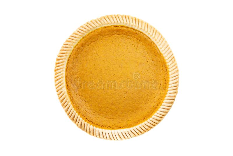 Vue supérieure - tarte de potiron délicieux frais sur le fond blanc photo libre de droits