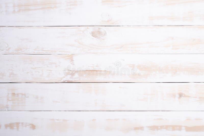 Vue sup?rieure du fond en bois blanc de texture, table en bois Configuration plate images stock