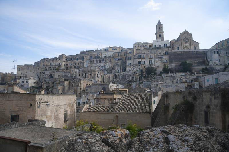 Vue sur de vieilles maisons de Matera, Italie image stock