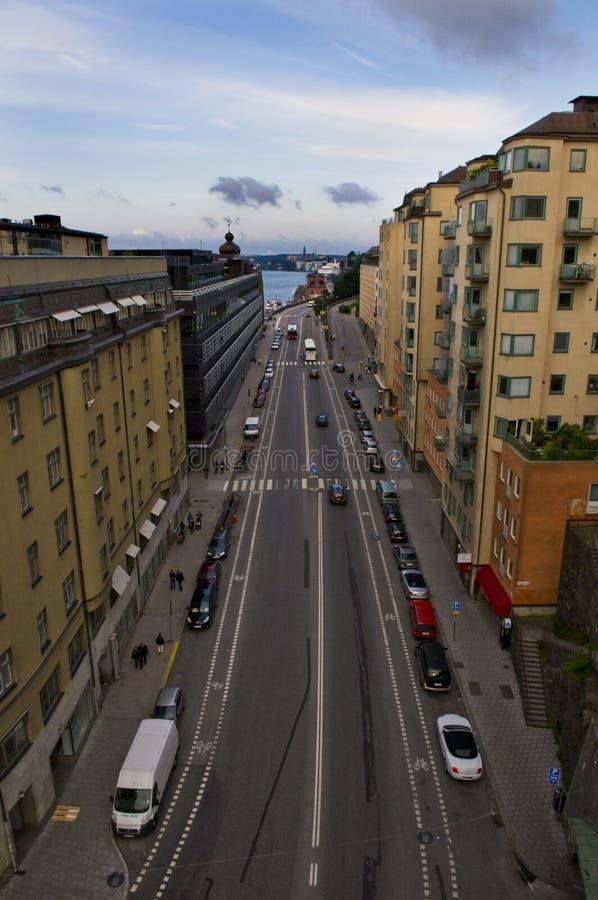 Vue sur Gamla Stan de Katarinahissen Stockholm, Suède photo libre de droits