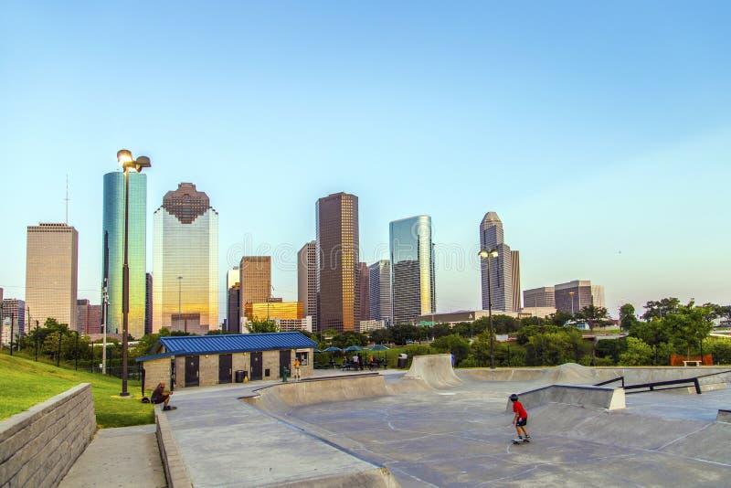Vue sur Houston du centre dedans tard photo stock
