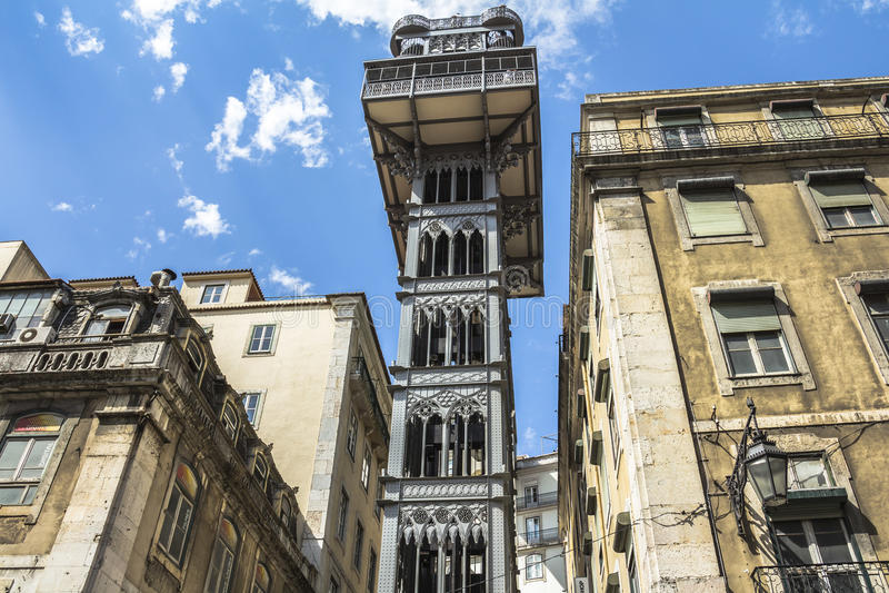 Vue sur l'Elevador au centre de Lisbonne, Portugal image stock