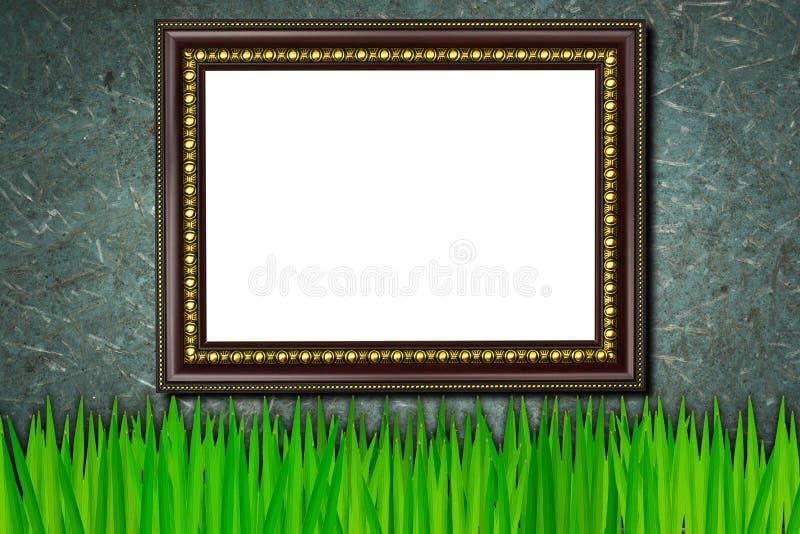 Vue sur l'herbe et le vieux fond en bois illustration libre de droits