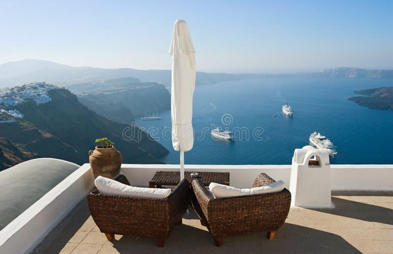Vue sur la caldeira et la mer. image stock