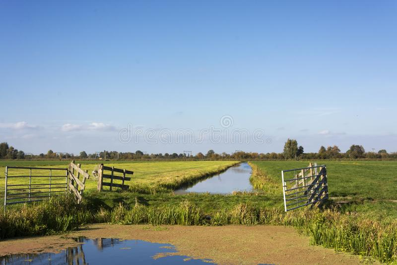Vue sur la campagne aux Pays-Bas près du Gouda Ce secteur se compose de belles terres cultivables néerlandaises typiques images stock