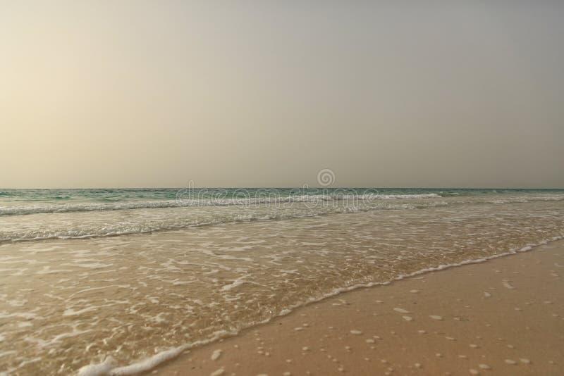 Vue sur la mer calme d'une plage sablonneuse vide au coucher du soleil photos libres de droits