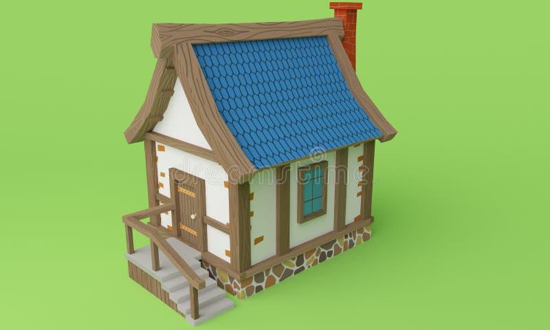 Vue sur la petite maison en bois rendu 3d images stock