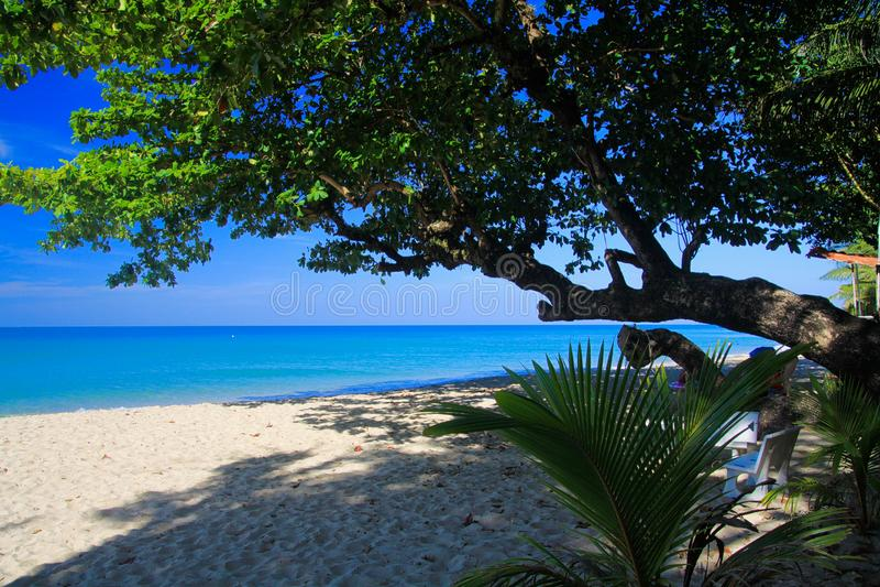 Vue sur la plage blanche tropicale de sable, Ko Chang, Thaïlande image stock