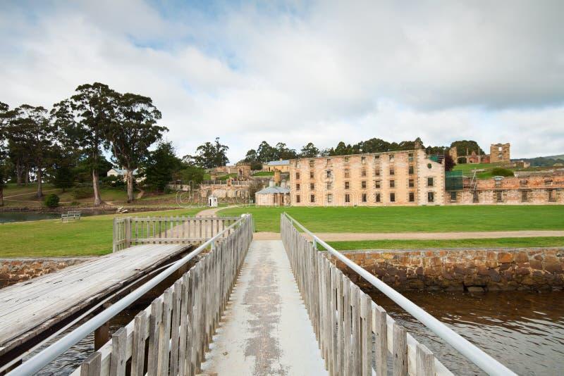Vue sur la prison en prison historique de Port Arthur images stock