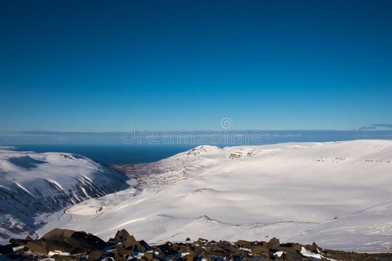 Vue sur la vallée de Bodvarsdalur en Islande du Nord photographie stock libre de droits
