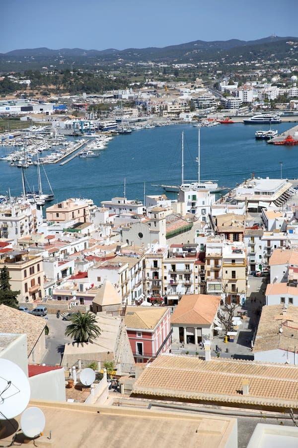 Vue sur la vieille ville d'Ibiza image libre de droits