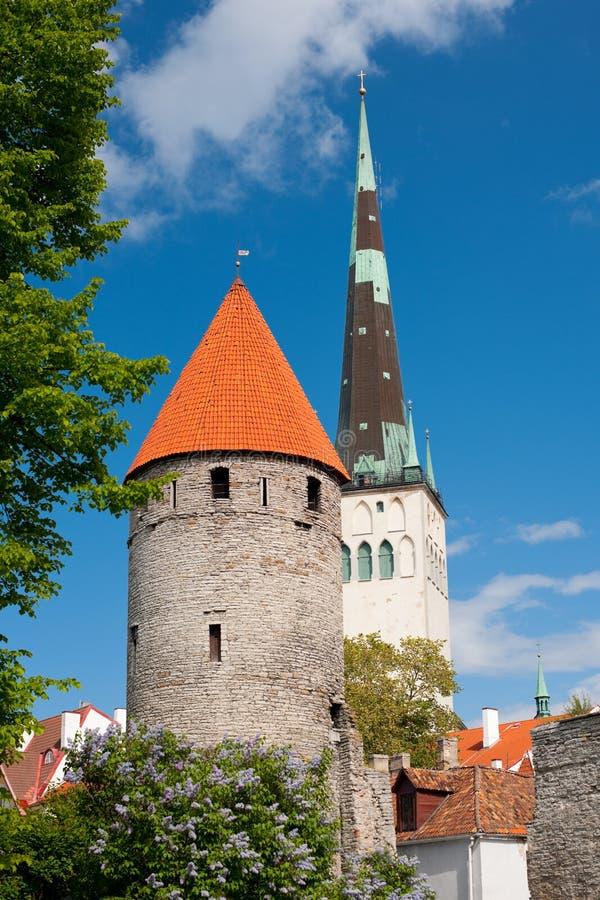 Vue sur la vieille ville de Tallin photos libres de droits