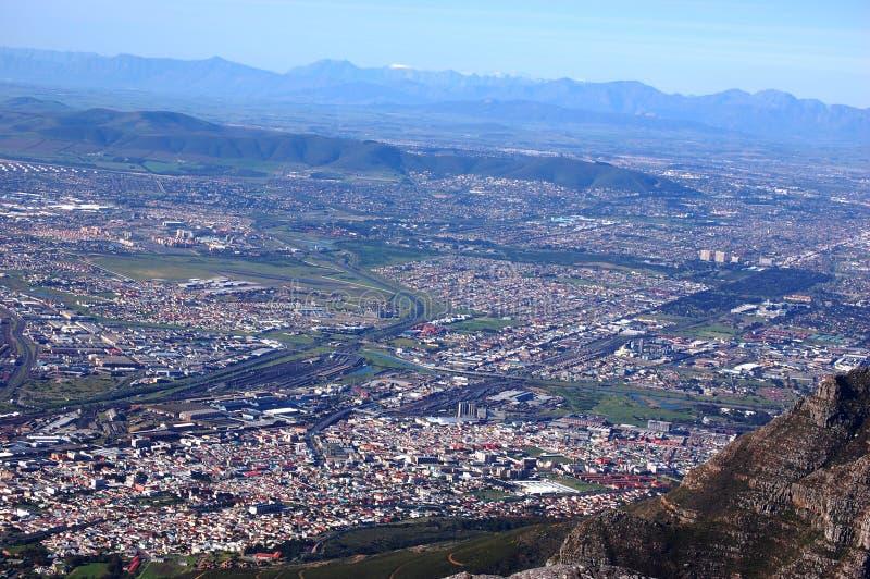 Vue sur la ville de la montagne de Tableau, Afrique du Sud, Cape Town photographie stock