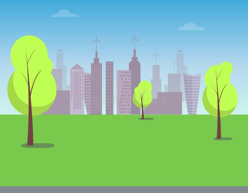 Vue sur la ville moderne du parc vert, affiche de couleur illustration libre de droits
