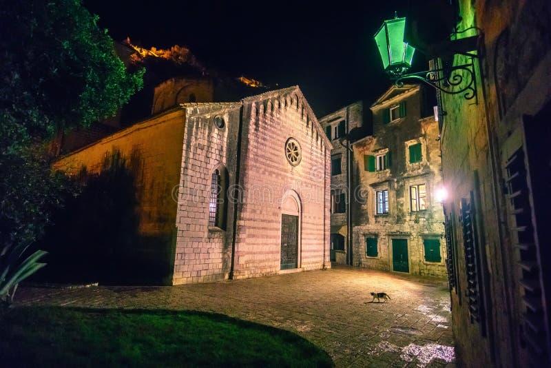 Vue sur la ville nocturne de Kotor, Monténégro photo libre de droits
