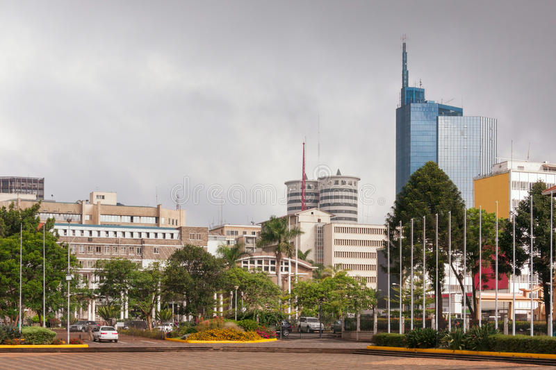 Vue sur le district des affaires central de Nairobi photographie stock libre de droits