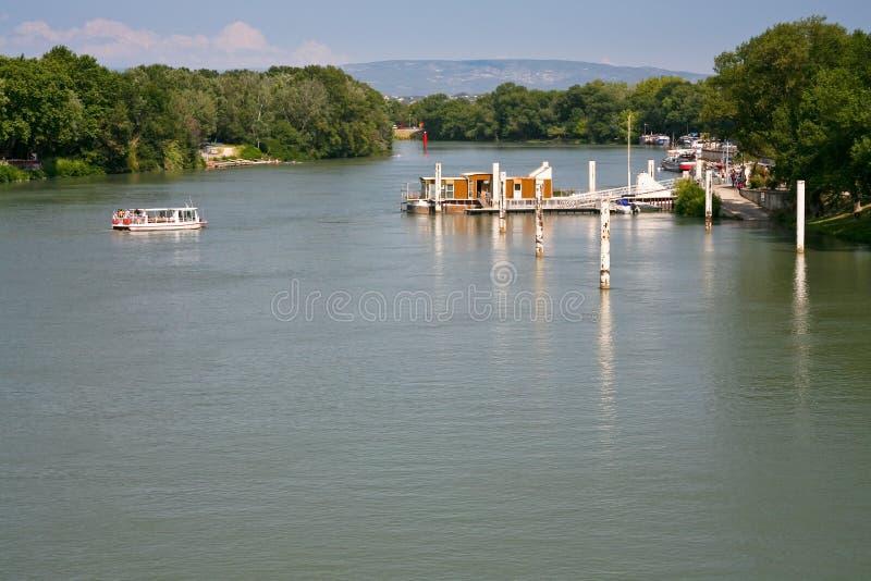 Vue sur le fleuve de Rhône image libre de droits