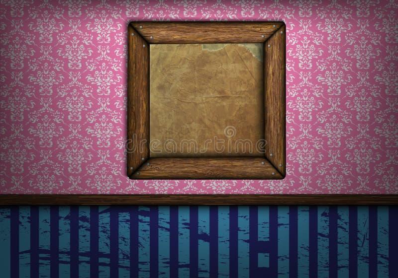 Vue sur le mur dans un vintage de chambre illustration libre de droits