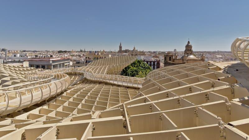Vue sur le parasol de Metropol, Séville, Espagne photographie stock libre de droits
