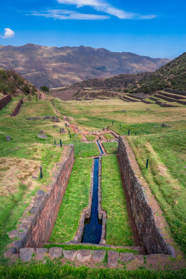 Vue sur les canaux de l'eau, système d'irrigation employé par des Inca image stock