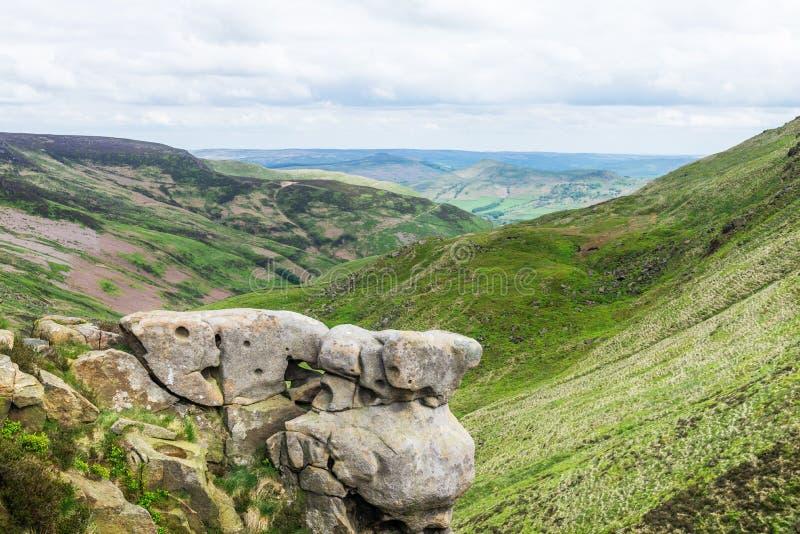 Vue sur les collines près d'Edale, parc national de secteur maximal, R-U image stock