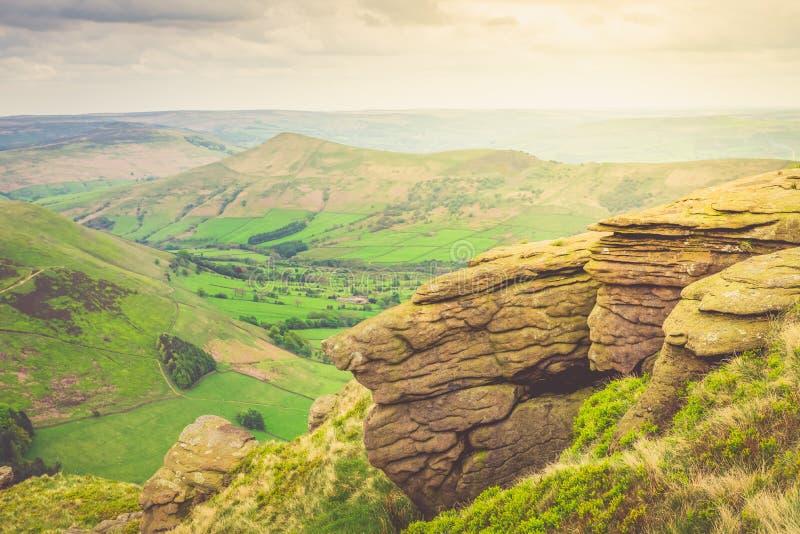 Vue sur les collines près d'Edale, parc national de secteur maximal, R-U photo libre de droits