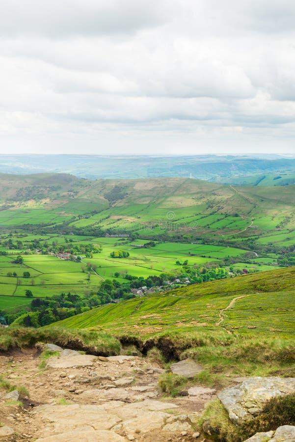 Vue sur les collines près d'Edale, parc national de secteur maximal, R-U image libre de droits