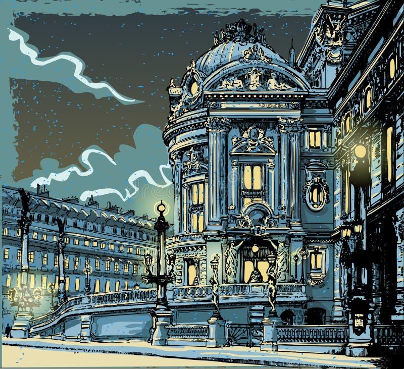 Vue tirée par la main de vintage d'opéra à Paris illustration libre de droits