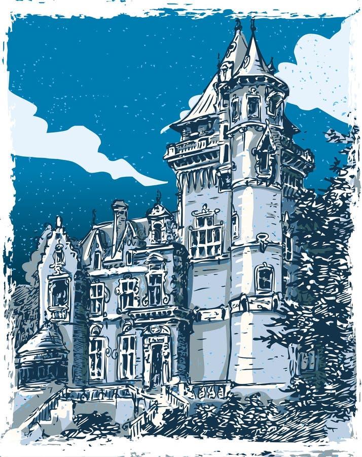 Vue tirée par la main de vintage de vieux château en Belgique illustration stock
