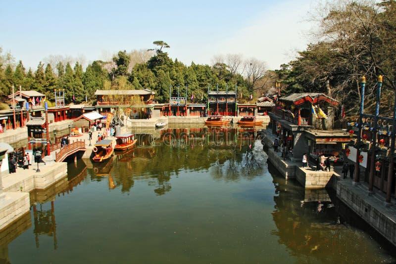 Vue traditionnelle en palais d'été Chine image libre de droits