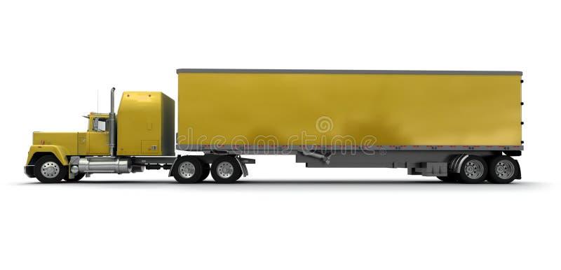 Vue transversale d'un grand camion de remorque jaune illustration de vecteur