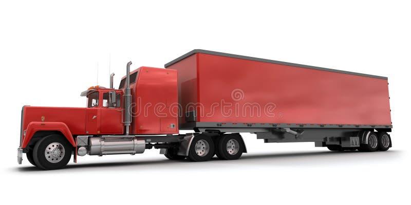 Vue transversale d'un grand camion de remorque rouge illustration stock