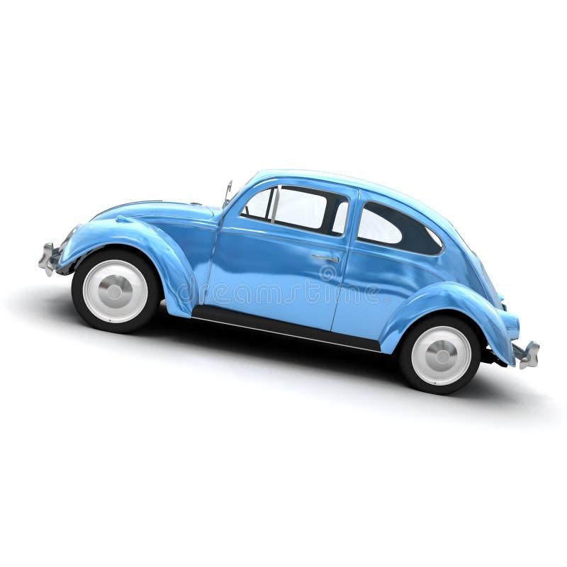 Vue transversale d'un véhicule bleu européen de cru illustration libre de droits